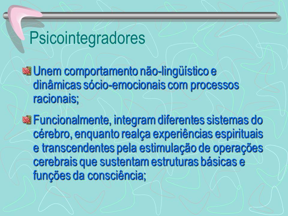 Psicointegradores Aumentam os processos de informações fundamentais com relação: Ao self; Ao self; À emoção; À emoção; Às relações sociais.