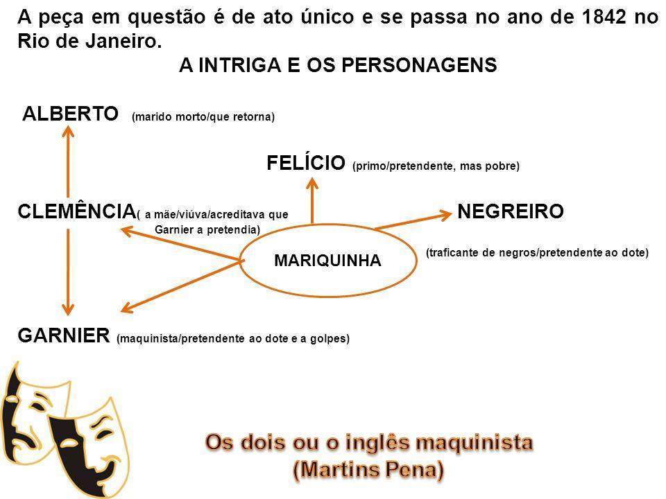 A peça em questão é de ato único e se passa no ano de 1842 no Rio de Janeiro. A INTRIGA E OS PERSONAGENS ALBERTO (marido morto/que retorna) FELÍCIO (p