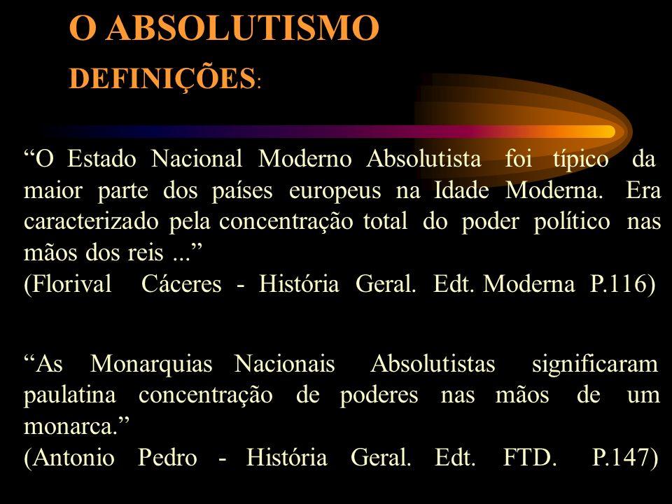 DEFINIÇÕES : O Estado Nacional Moderno Absolutista foi típico da maior parte dos países europeus na Idade Moderna.