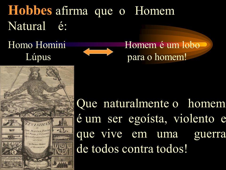 Hobbes afirma que o Homem Natural é: Homo Homini Lúpus Homem é um lobo para o homem.