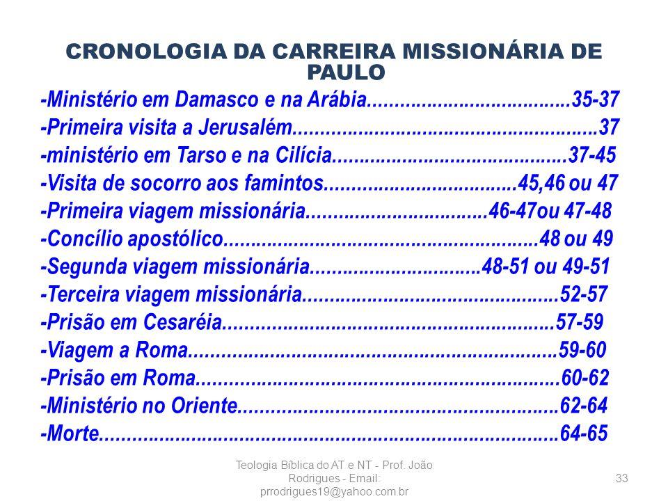 CRONOLOGIA DA CARREIRA MISSIONÁRIA DE PAULO -Ministério em Damasco e na Arábia......................................35-37 -Primeira visita a Jerusalém