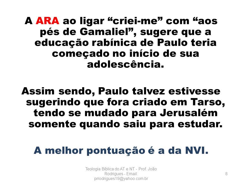 A ARA ao ligar criei-me com aos pés de Gamaliel, sugere que a educação rabínica de Paulo teria começado no início de sua adolescência. Assim sendo, Pa