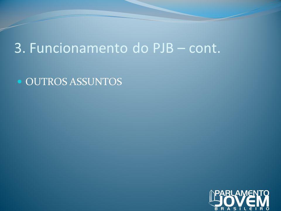 3. Funcionamento do PJB – cont. OUTROS ASSUNTOS