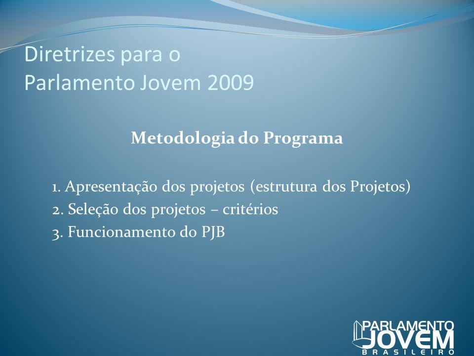 Diretrizes para o Parlamento Jovem 2009 Metodologia do Programa 1. Apresentação dos projetos (estrutura dos Projetos) 2. Seleção dos projetos – critér