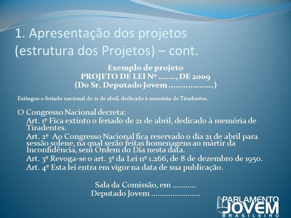 1. Apresentação dos projetos (estrutura dos Projetos) – cont. Exemplo de projeto PROJETO DE LEI Nº......., DE 2009 (Do Sr. Deputado Jovem.............