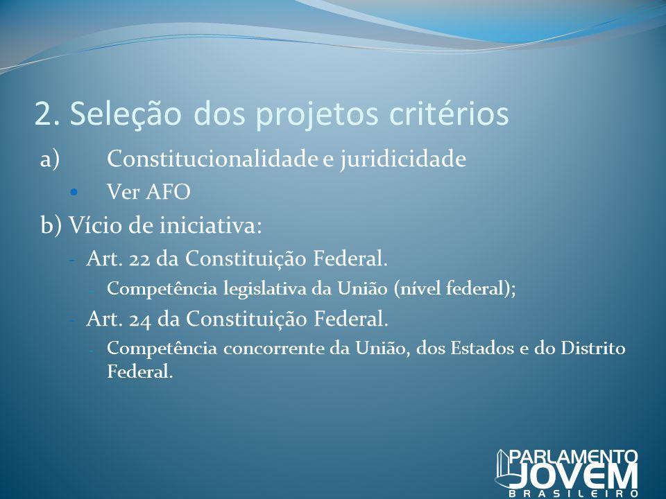 2. Seleção dos projetos critérios a)Constitucionalidade e juridicidade Ver AFO b) Vício de iniciativa: - Art. 22 da Constituição Federal. - Competênci