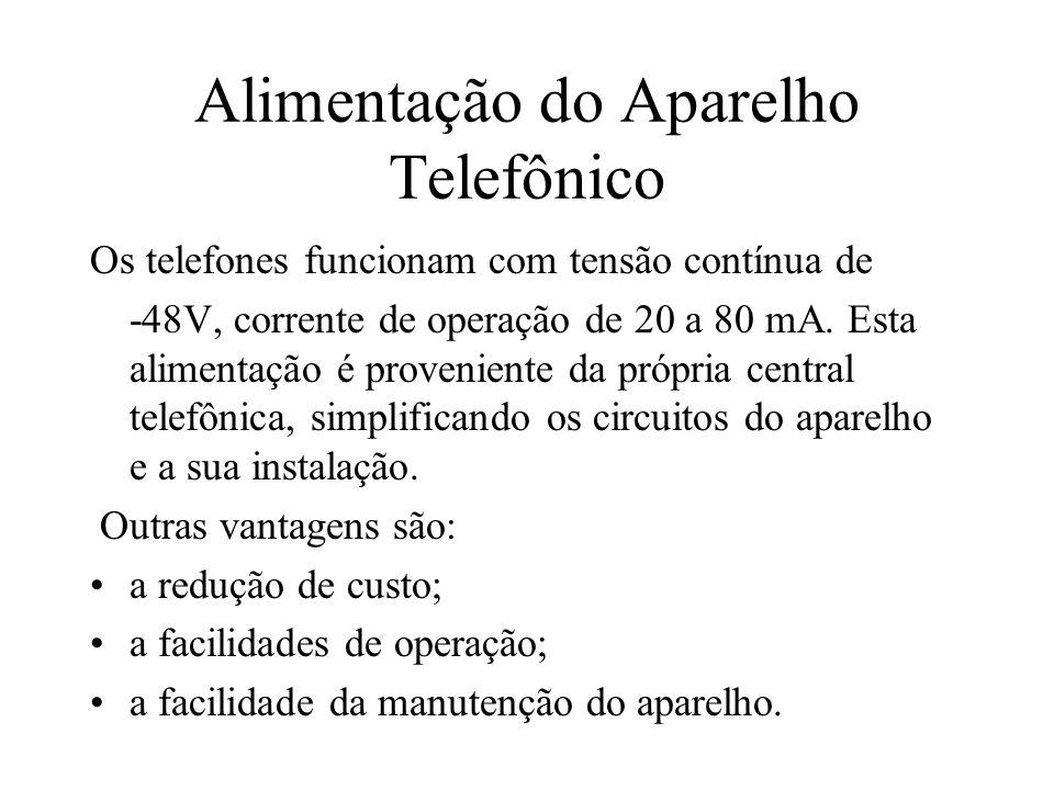 Alimentação do Aparelho Telefônico Os telefones funcionam com tensão contínua de -48V, corrente de operação de 20 a 80 mA. Esta alimentação é provenie