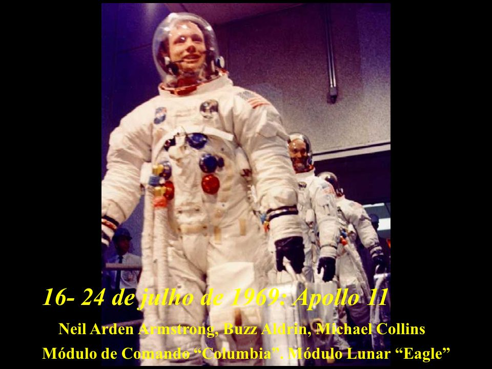 Apollo 1116- 24 de julho de 1969: Neil Arden Armstrong, Buzz Aldrin, Michael Collins Módulo de Comando Columbia. Módulo Lunar Eagle