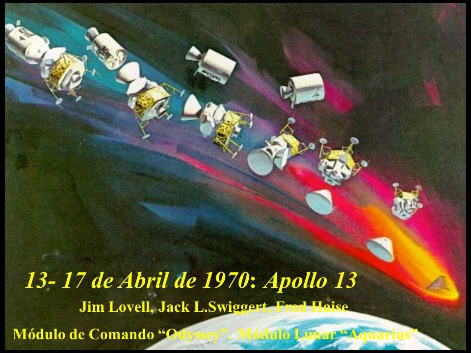 Módulo de Comando Odyssey. Módulo Lunar Aquarius Jim Lovell, Jack L.Swiggert, Fred Haise 13- 17 de Abril de 1970:Apollo 13
