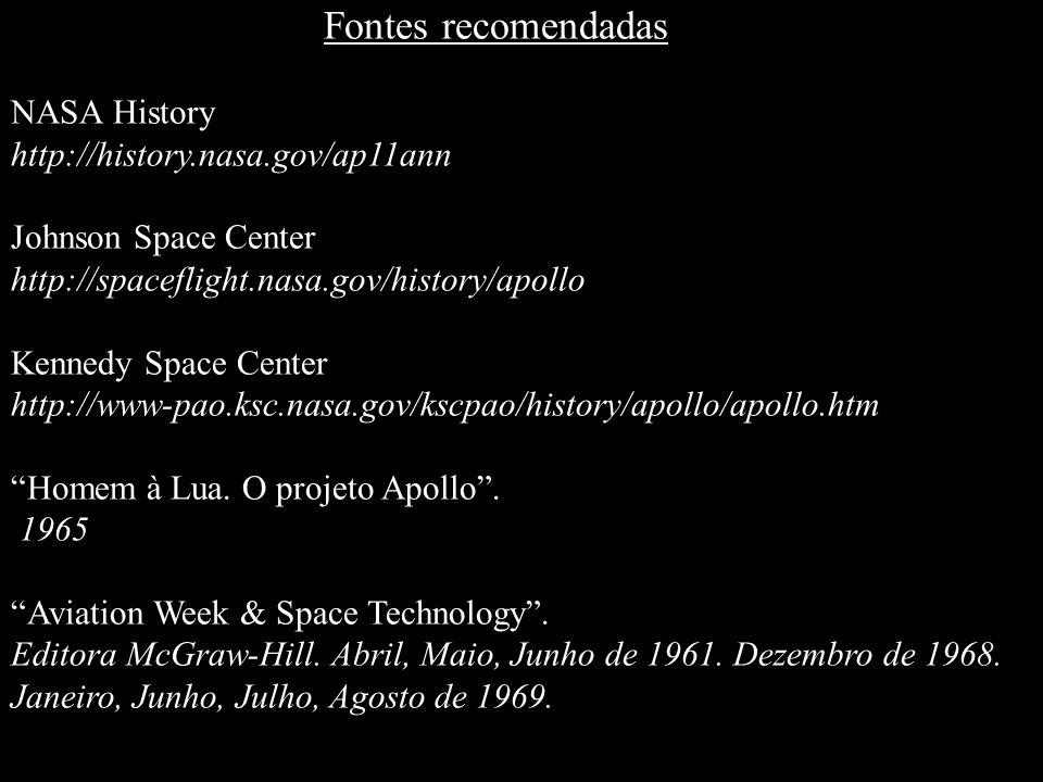 Fontes recomendadas NASA History http://history.nasa.gov/ap11ann Johnson Space Center http://spaceflight.nasa.gov/history/apollo Kennedy Space Center