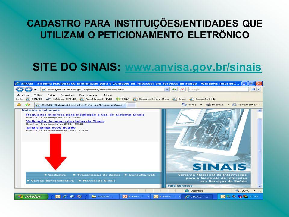 SITE DO SINAIS: www.anvisa.gov.br/sinaiswww.anvisa.gov.br/sinais