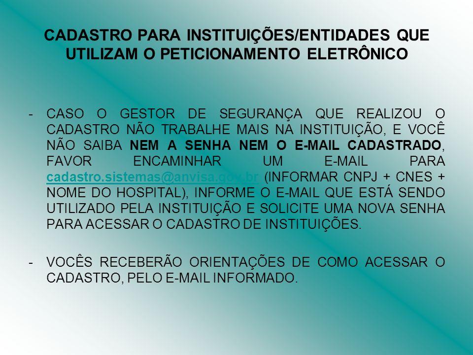 CADASTRO PARA INSTITUIÇÕES/ENTIDADES QUE UTILIZAM O PETICIONAMENTO ELETRÔNICO RETORNO À ORIENTAÇÃO DO CADASTRO: INFORME O CNPJ + CNAE (CLASSIFICAÇÃO NACIONAL DE ATIVIDADES ECONÔMICA) + SENHA E CLIQUE EM ENTRAR