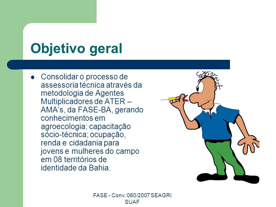 FASE - Conv. 060/2007 SEAGRI SUAF Objetivo geral Consolidar o processo de assessoria técnica através da metodologia de Agentes Multiplicadores de ATER