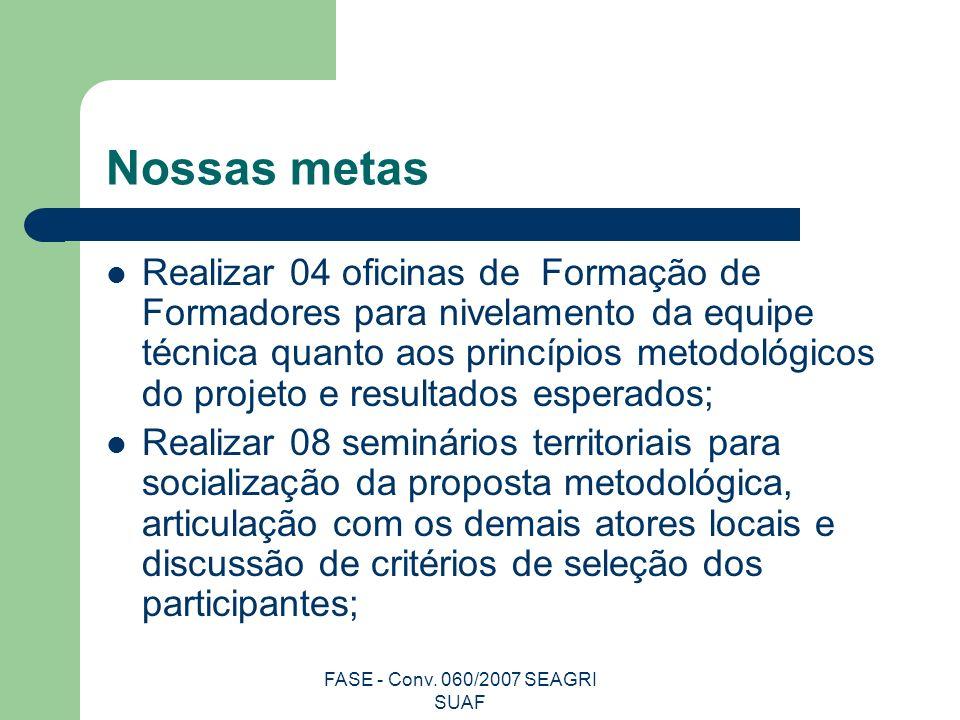 FASE - Conv. 060/2007 SEAGRI SUAF Nossas metas Realizar 04 oficinas de Formação de Formadores para nivelamento da equipe técnica quanto aos princípios