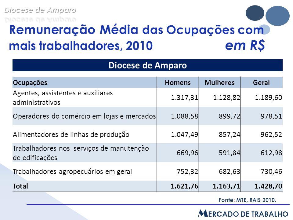 Ocupações com maior número de trabalhadores, 2010 Fonte: MTE, RAIS 2010.