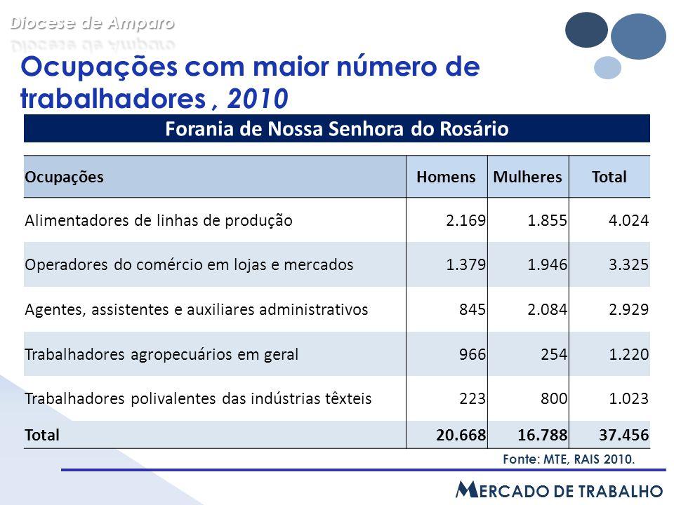 Ocupações com maior número de trabalhadores, 2010, em ( % ) Fonte: MTE, RAIS 2010.