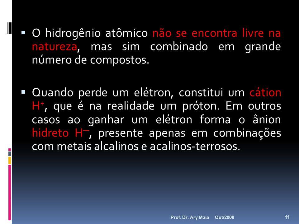 O hidrogênio atômico não se encontra livre na natureza, mas sim combinado em grande número de compostos. Quando perde um elétron, constitui um cátion