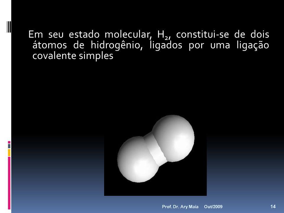 Em seu estado molecular, H 2, constitui-se de dois átomos de hidrogênio, ligados por uma ligação covalente simples Out/2009 14 Prof. Dr. Ary Maia