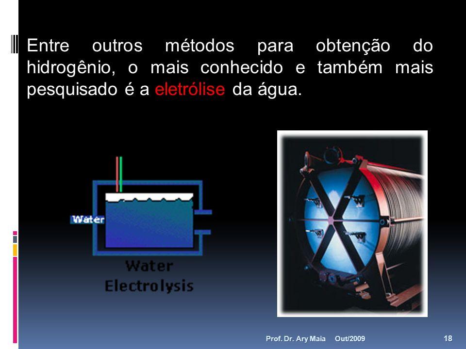 Entre outros métodos para obtenção do hidrogênio, o mais conhecido e também mais pesquisado é a eletrólise da água. Out/2009 18 Prof. Dr. Ary Maia
