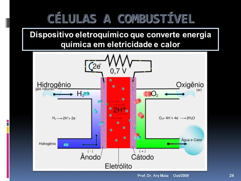 CÉLULAS A COMBUSTÍVEL Dispositivo eletroquímico que converte energia química em eletricidade e calor Out/2009 24 Prof. Dr. Ary Maia