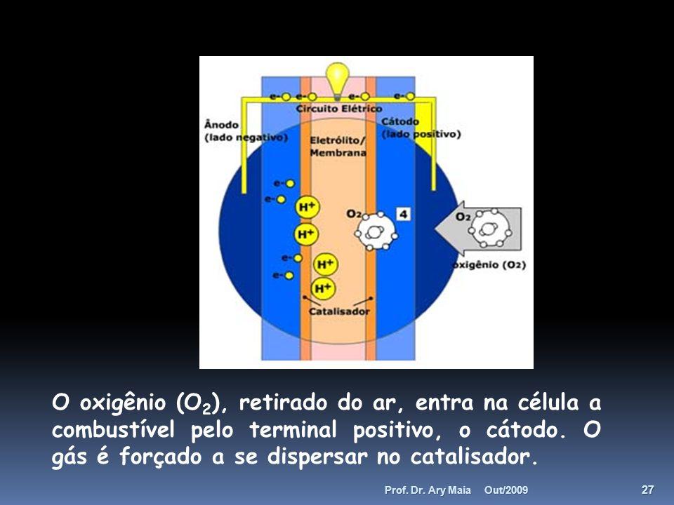O oxigênio (O 2 ), retirado do ar, entra na célula a combustível pelo terminal positivo, o cátodo. O gás é forçado a se dispersar no catalisador. Out/