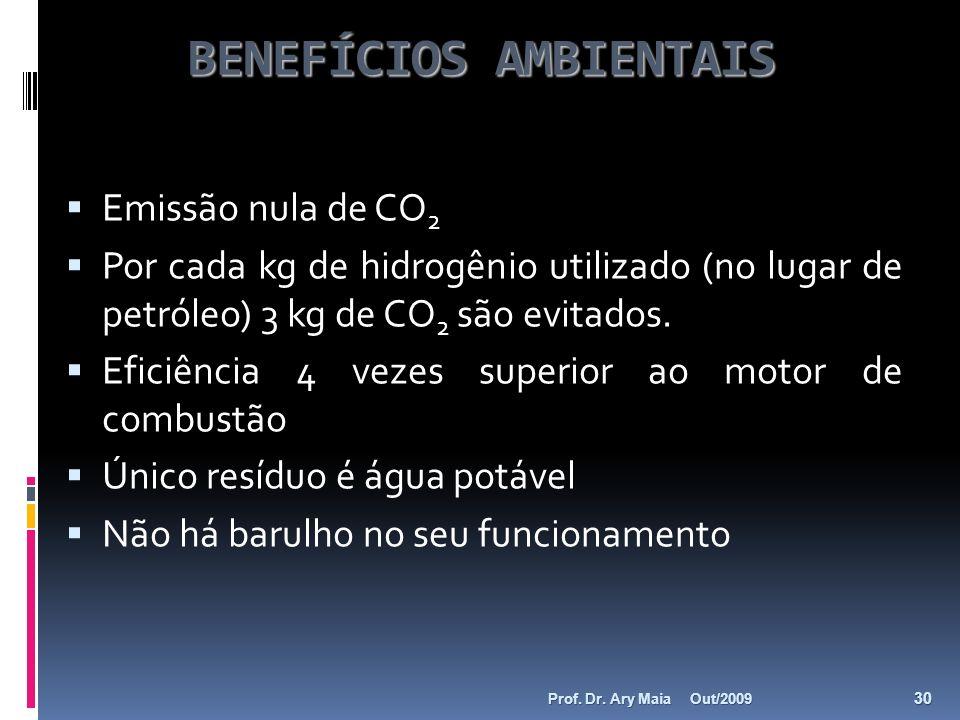 BENEFÍCIOS AMBIENTAIS Emissão nula de CO 2 Por cada kg de hidrogênio utilizado (no lugar de petróleo) 3 kg de CO 2 são evitados. Eficiência 4 vezes su