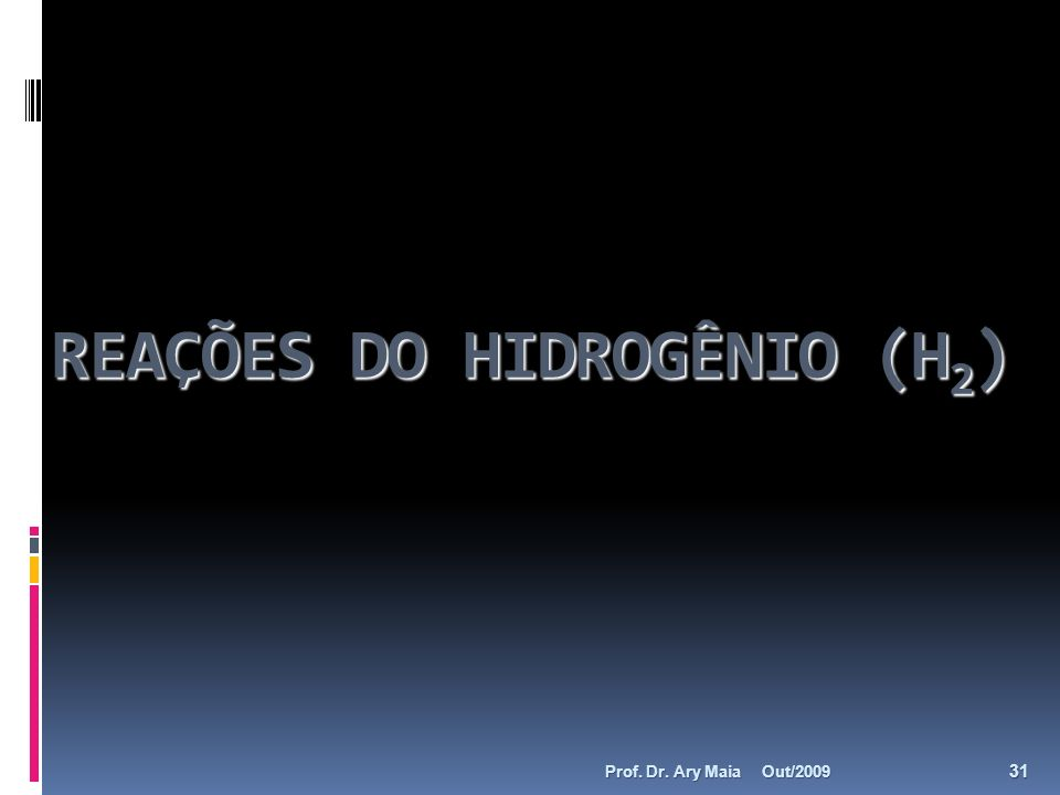 REAÇÕES DO HIDROGÊNIO (H 2 ) Out/2009 31 Prof. Dr. Ary Maia