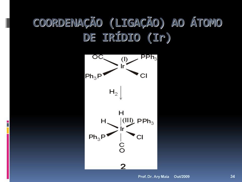 COORDENAÇÃO (LIGAÇÃO) AO ÁTOMO DE IRÍDIO (Ir) Out/2009 34 Prof. Dr. Ary Maia