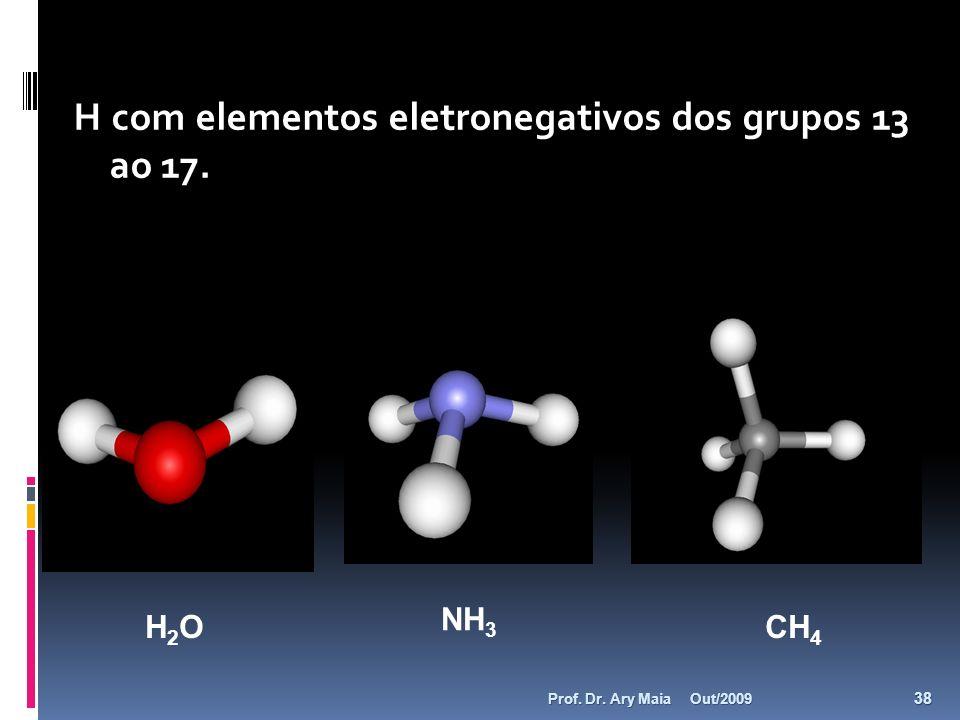 H com elementos eletronegativos dos grupos 13 ao 17. H2OH2O NH 3 CH 4 Out/2009 38 Prof. Dr. Ary Maia
