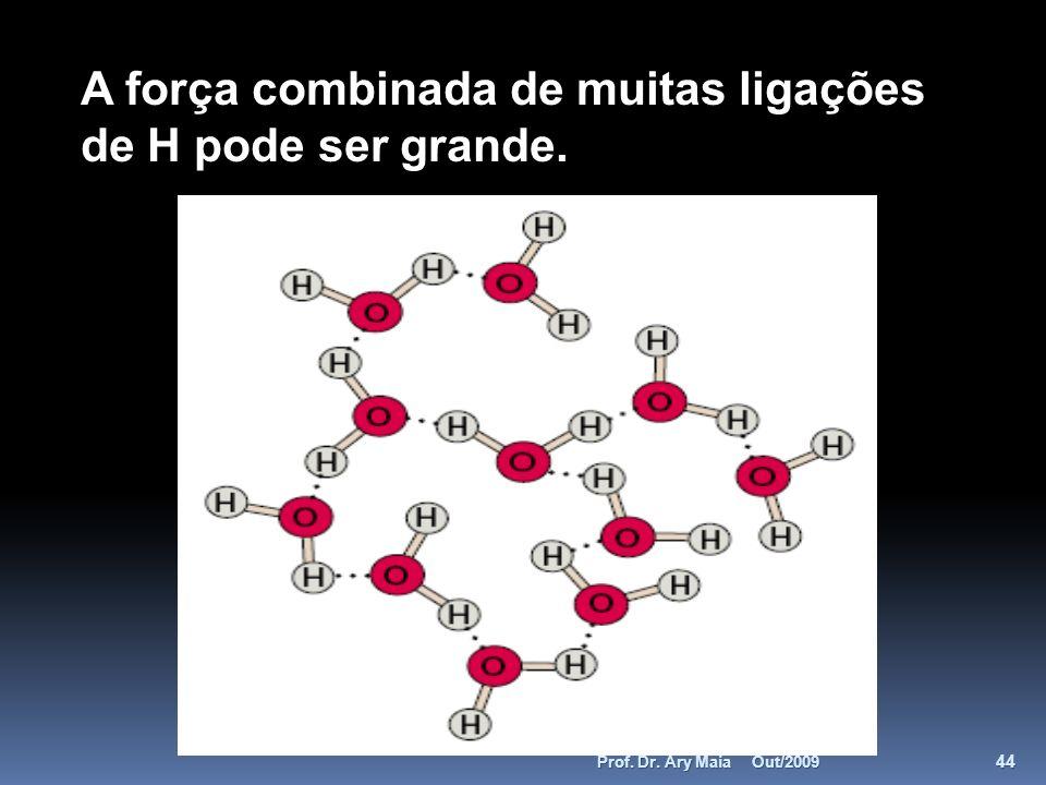 A força combinada de muitas ligações de H pode ser grande. Out/2009 44 Prof. Dr. Ary Maia