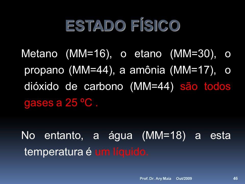 ESTADO FÍSICO Metano (MM=16), o etano (MM=30), o propano (MM=44), a amônia (MM=17), o dióxido de carbono (MM=44) são todos gases a 25 ºC. No entanto,