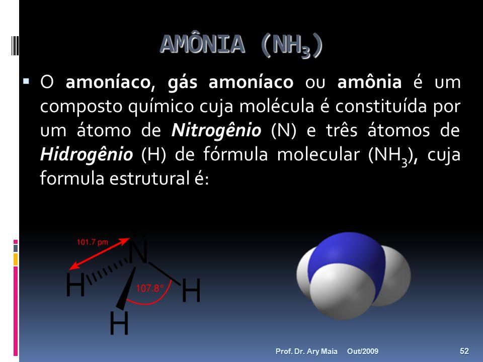 AMÔNIA (NH 3 ) O amoníaco, gás amoníaco ou amônia é um composto químico cuja molécula é constituída por um átomo de Nitrogênio (N) e três átomos de Hi