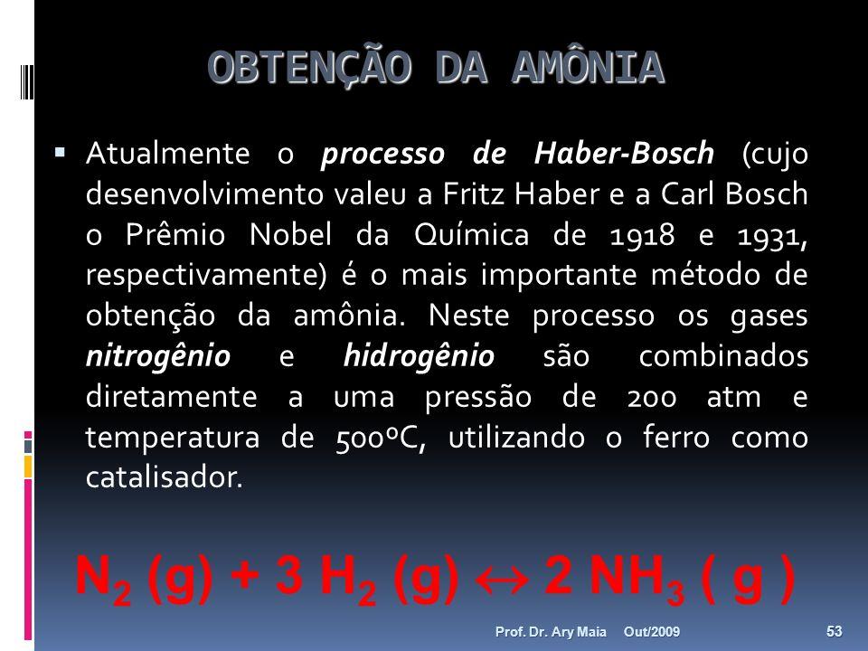 OBTENÇÃO DA AMÔNIA Atualmente o processo de Haber-Bosch (cujo desenvolvimento valeu a Fritz Haber e a Carl Bosch o Prêmio Nobel da Química de 1918 e 1
