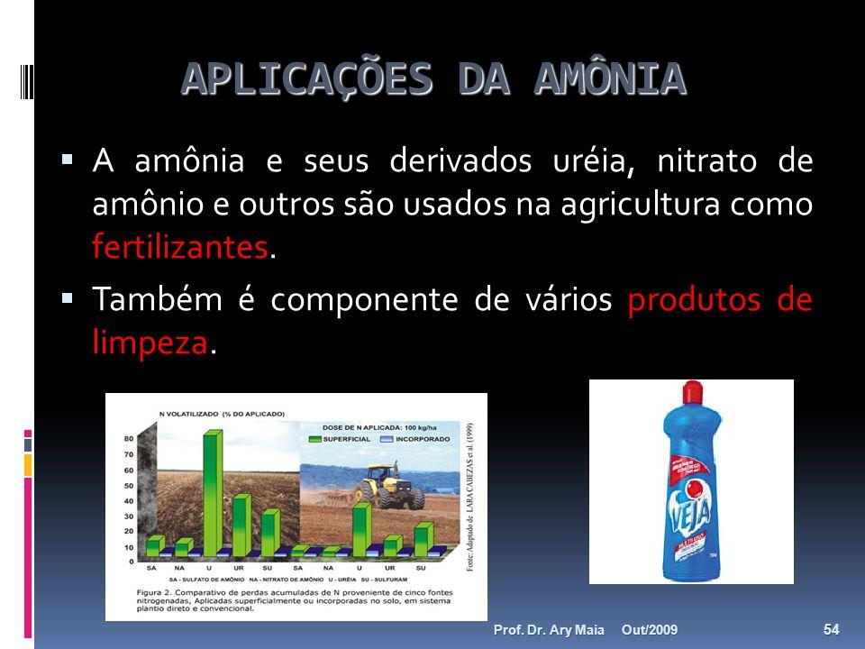 APLICAÇÕES DA AMÔNIA A amônia e seus derivados uréia, nitrato de amônio e outros são usados na agricultura como fertilizantes. Também é componente de