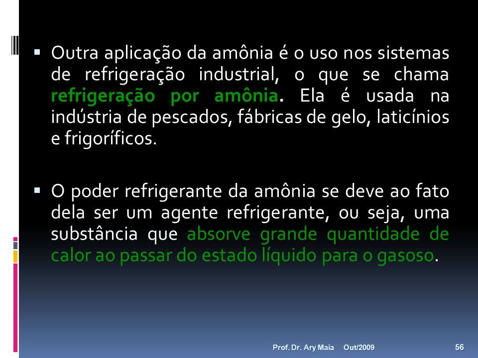 Outra aplicação da amônia é o uso nos sistemas de refrigeração industrial, o que se chama refrigeração por amônia. Ela é usada na indústria de pescado