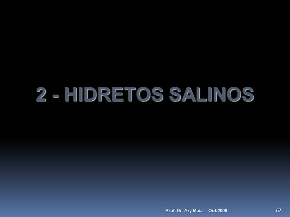 2 - HIDRETOS SALINOS Out/2009 57 Prof. Dr. Ary Maia