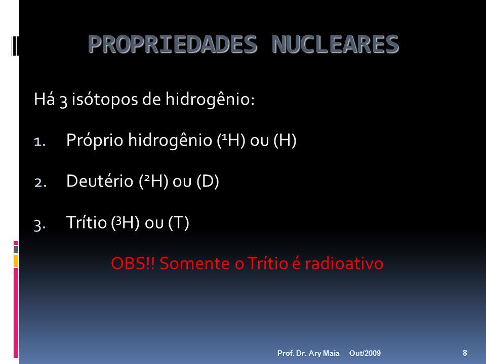 PROPRIEDADES NUCLEARES Há 3 isótopos de hidrogênio: 1. Próprio hidrogênio ( 1 H) ou (H) 2. Deutério ( 2 H) ou (D) 3. Trítio ( 3 H) ou (T) OBS!! Soment