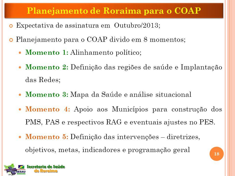 Expectativa de assinatura em Outubro/2013; Planejamento para o COAP divido em 8 momentos; Momento 1: Alinhamento político; Momento 2: Definição das re