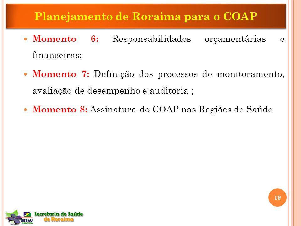 Momento 6: Responsabilidades orçamentárias e financeiras; Momento 7: Definição dos processos de monitoramento, avaliação de desempenho e auditoria ; M