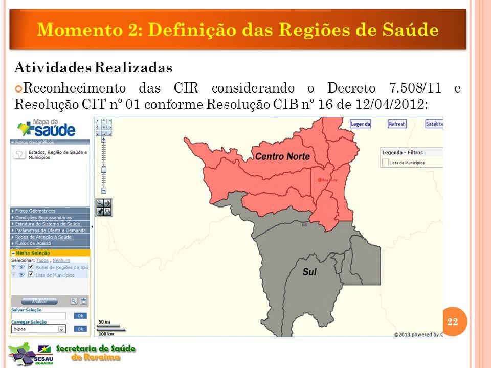 Atividades Realizadas Reconhecimento das CIR considerando o Decreto 7.508/11 e Resolução CIT nº 01 conforme Resolução CIB nº 16 de 12/04/2012: Momento