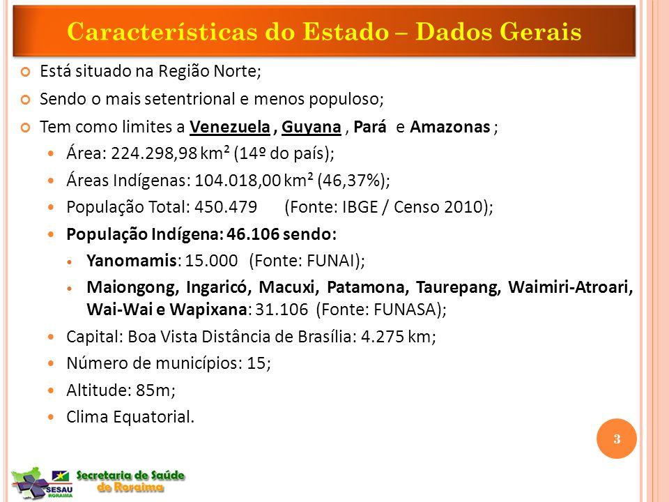 Características do Estado – Dados Gerais Está situado na Região Norte; Sendo o mais setentrional e menos populoso; Tem como limites a Venezuela, Guyan