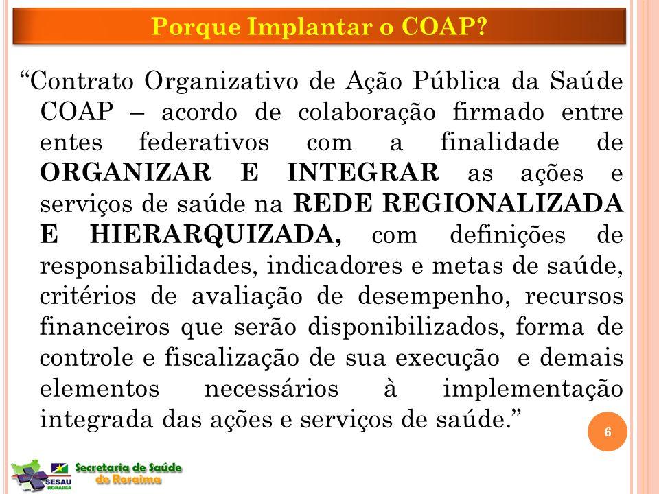 Contrato Organizativo de Ação Pública da Saúde COAP – acordo de colaboração firmado entre entes federativos com a finalidade de ORGANIZAR E INTEGRAR a