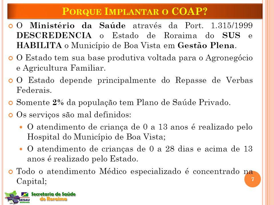 O Ministério da Saúde através da Port. 1.315/1999 DESCREDENCIA o Estado de Roraima do SUS e HABILITA o Município de Boa Vista em Gestão Plena. O Estad