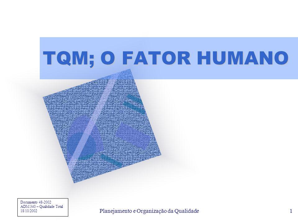 Planejamento e Organização da Qualidade1 TQM; O FATOR HUMANO Para inserir o logotipo da empresa neste slide No menu 'Inserir' Selecione 'Figura' Local