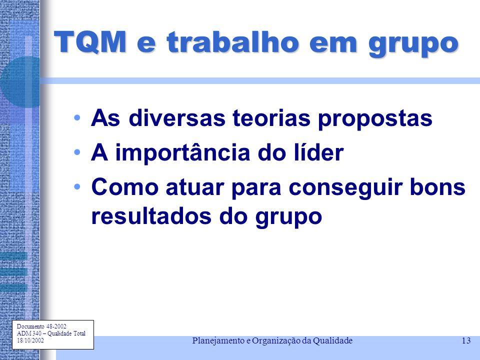 Documento 48-2002 ADM 340 – Qualidade Total 18/10/2002 Planejamento e Organização da Qualidade13 TQM e trabalho em grupo As diversas teorias propostas