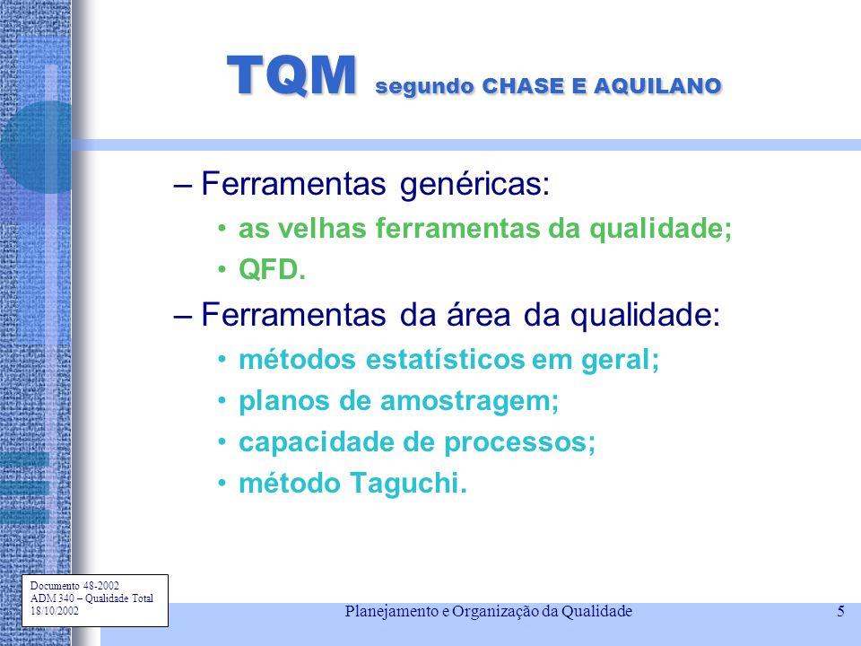 Documento 48-2002 ADM 340 – Qualidade Total 18/10/2002 Planejamento e Organização da Qualidade5 TQM segundo CHASE E AQUILANO –Ferramentas genéricas: a