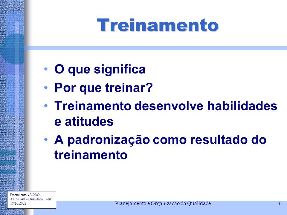 Documento 48-2002 ADM 340 – Qualidade Total 18/10/2002 Planejamento e Organização da Qualidade6 Treinamento O que significa Por que treinar? Treinamen