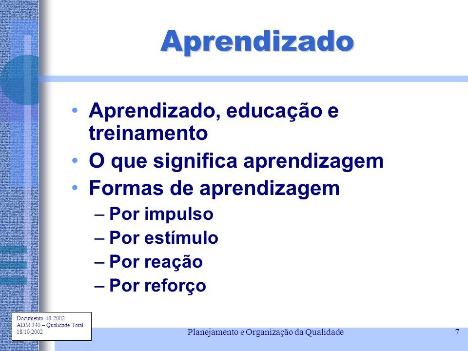 Documento 48-2002 ADM 340 – Qualidade Total 18/10/2002 Planejamento e Organização da Qualidade7 Aprendizado Aprendizado, educação e treinamento O que
