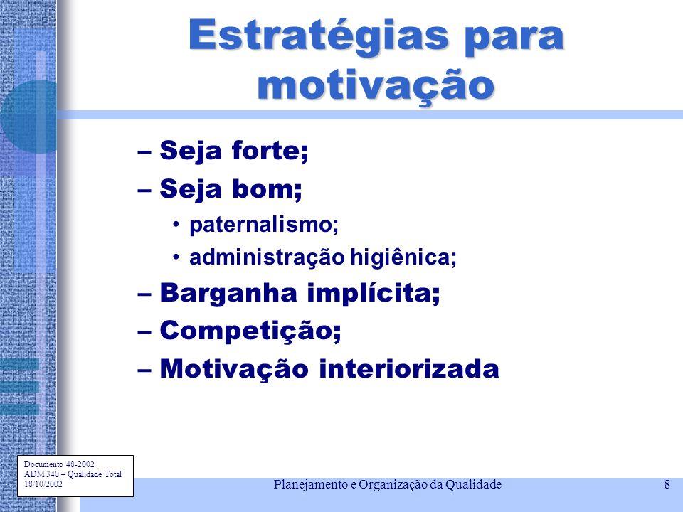 Documento 48-2002 ADM 340 – Qualidade Total 18/10/2002 Planejamento e Organização da Qualidade8 Estratégias para motivação –Seja forte; –Seja bom; pat