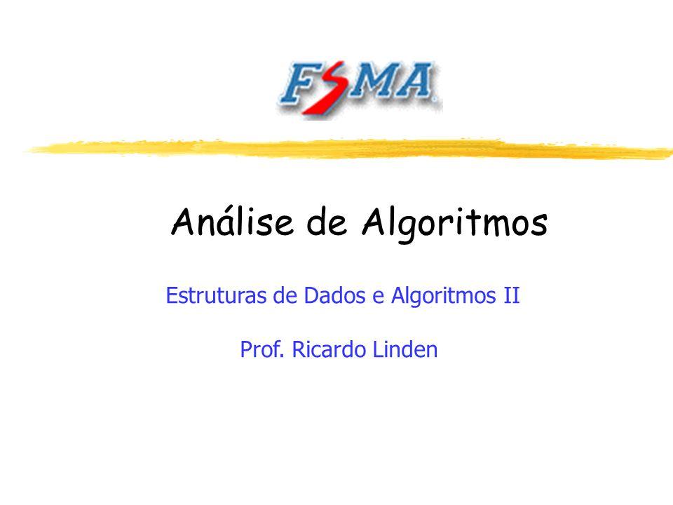 Análise de Algoritmos Estruturas de Dados e Algoritmos II Prof. Ricardo Linden